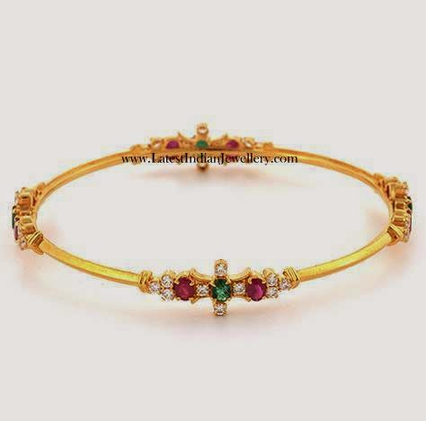 Simple Studded Gold Bangle