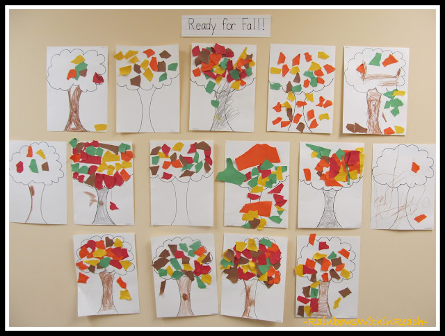 photo of: Bulletin Board of Fall Trees with Torn Construction Paper (via RainbowsWithinReach)