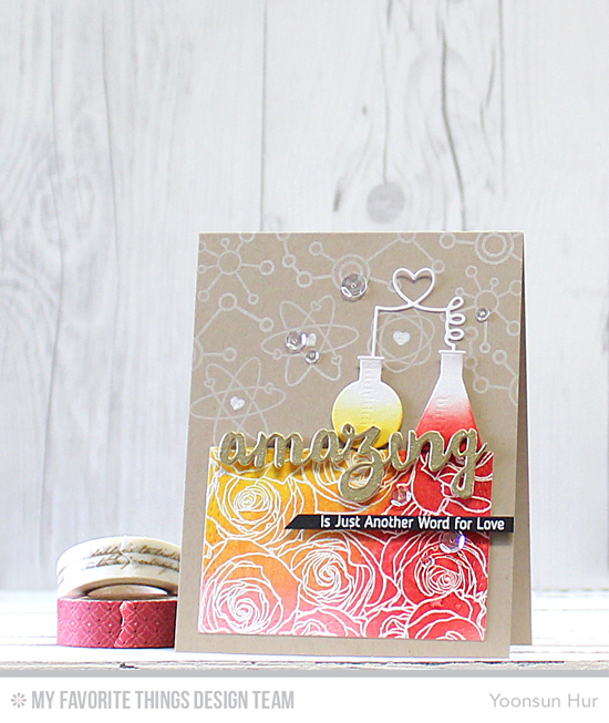 Amazing Chemistry Card by Yoonsun Hur featuring the Laina Lamb Design Undeniable Chemistry stamp set and Chemistry Set Die-namics, Roses All Over Background stamp, and the Doubly Amazing and Wonky Stitched Rectangle STAX Die-namics #mftstamps