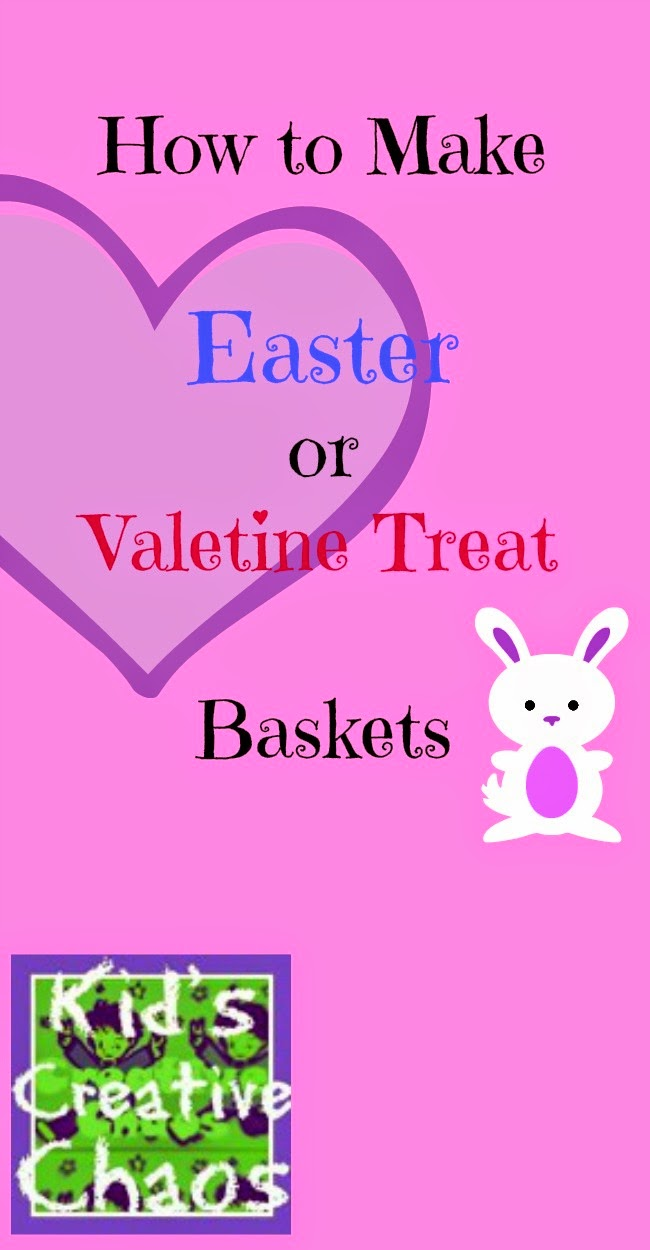 How to make an Easter or  Valentine's Treat Basket with paper.