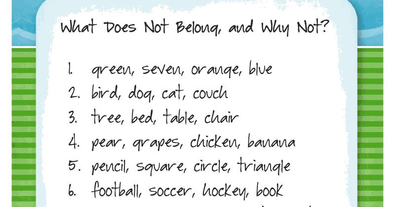 Ms. Lane\'s SLP Materials: Categories: What Doesn\'t Belong?