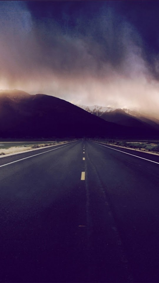 Mountain Highway Stormy Clouds  Galaxy Note HD Wallpaper
