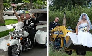 funny wedding picture: bride & groom ride