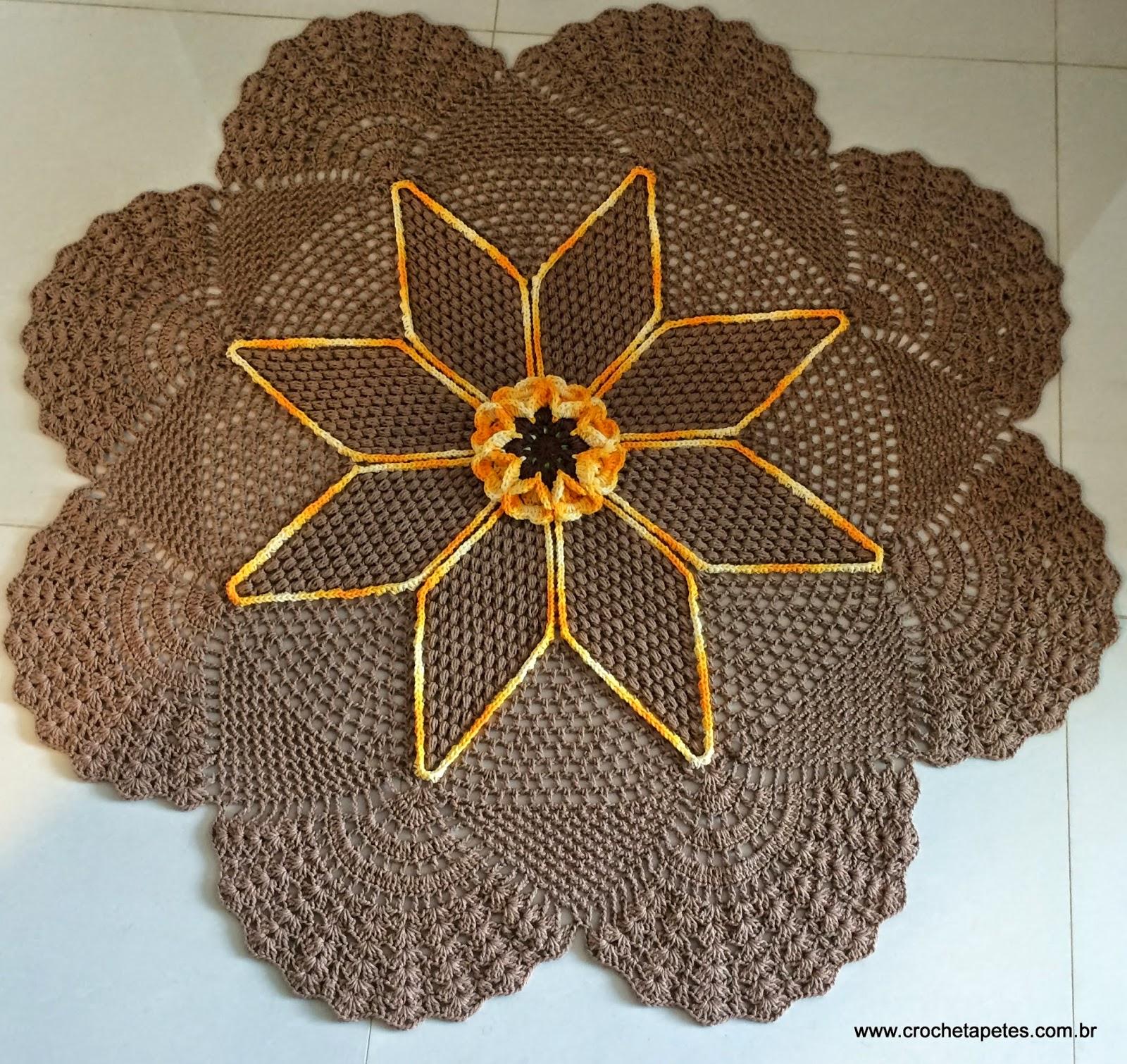 Tapete Redondo Flor Paix O Por Roma Croche Com Br -> Tapete Para Sala De Barbante Redondo