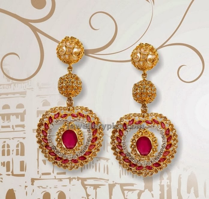 simple uncut diamond ruby chandbali earrings