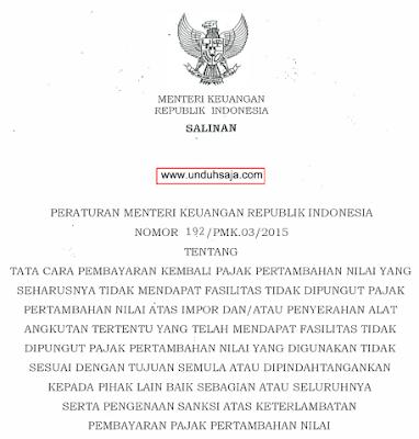 PMK No 192 Tahun 2015