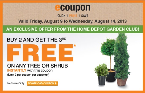 Canadian Daily Deals Home Depot Garden Club Buy 2 Get 1 Free Tree Or Shrub Coupon