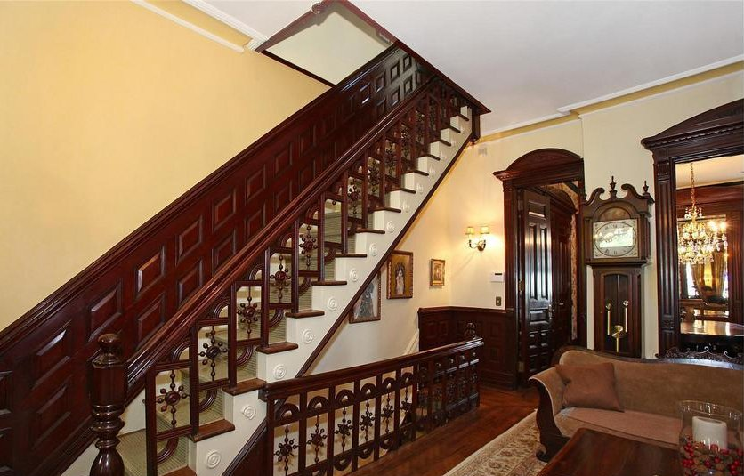 Historical staircas row house gothic interiors for Brownstone home designs