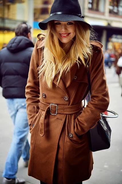 Brown Coat And Black Hat
