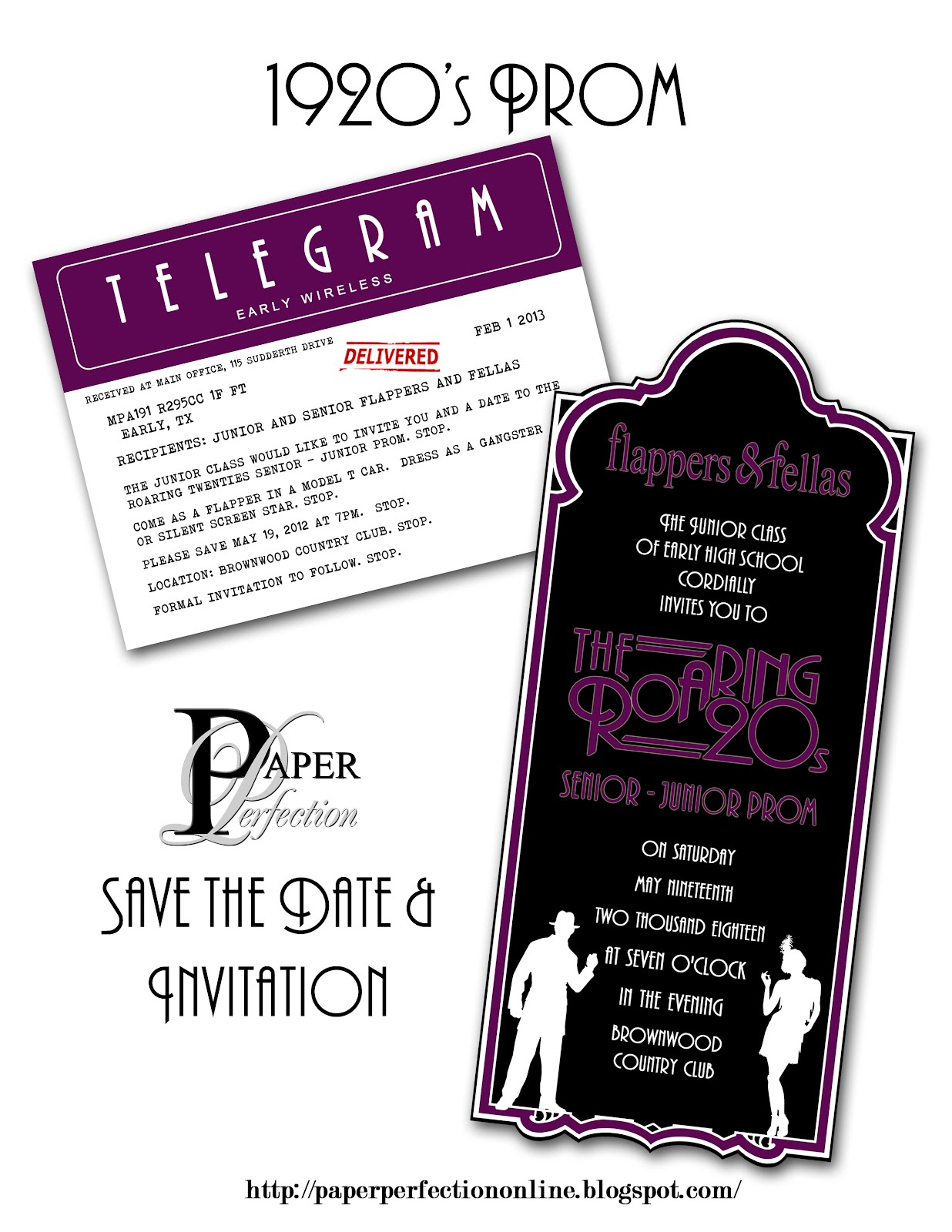 Paper Perfection: 1920\'s Prom Invitation and Party Printables