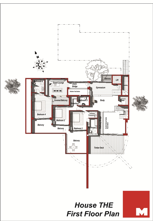 First floor plan of the modern villa