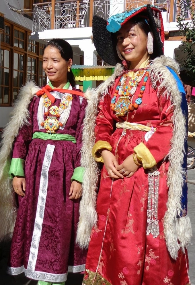 Ladakhi women in traditional dress and jewelry