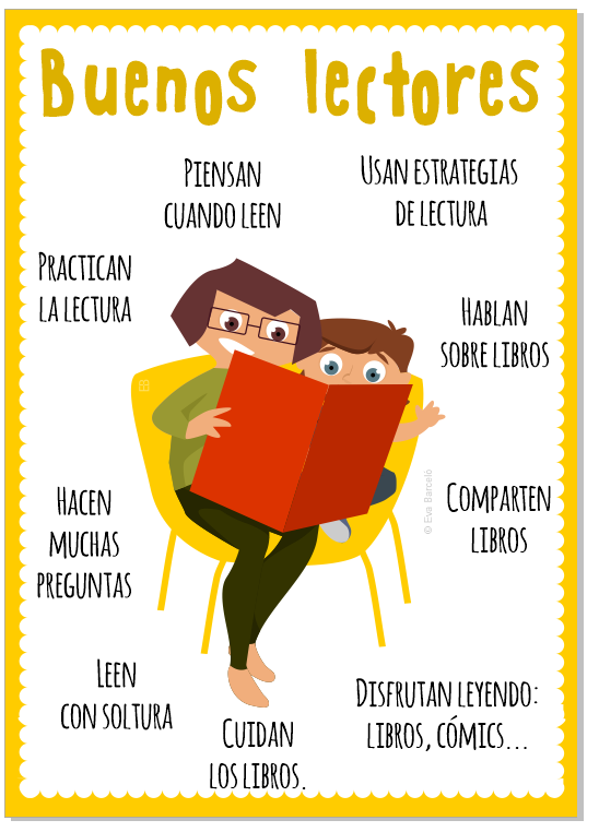 Poster Buenos Lectores -Mamá e hija leer juntos aprender a leer -Tiu by evacreando EB libros ilustración Mallorca