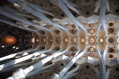 Ceiling of the main nave of Sagrada Familia Basilica