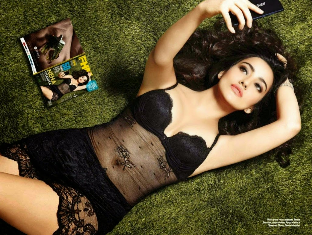 Neha-Sharma-FHM-2014-sexy-black-lingerie-gown-magazine-photo