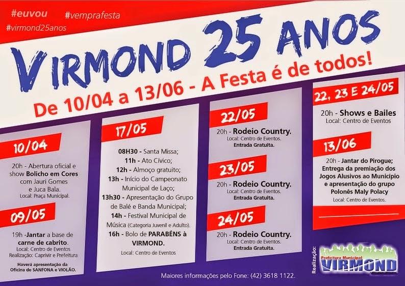 Virmond:Programação das festividades em comemoração aos 25 anos do município