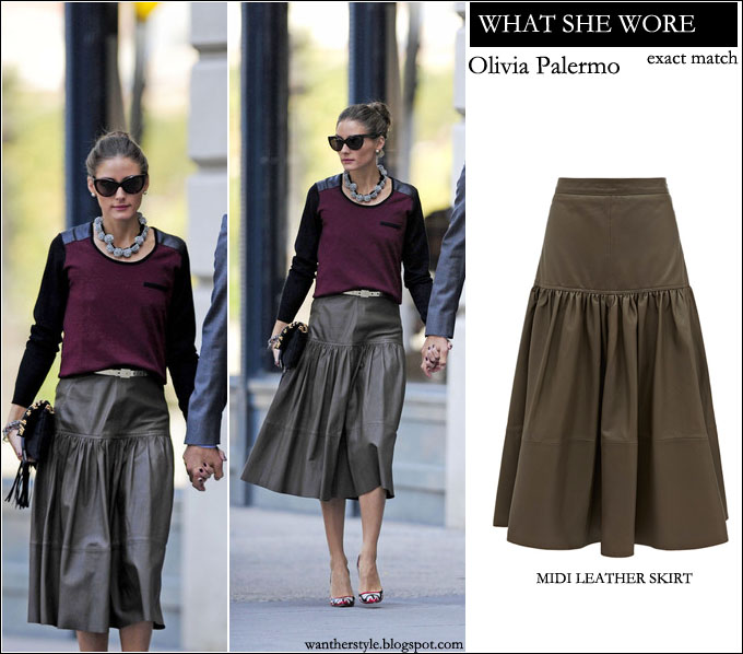 WHAT SHE WORE: Olivia Palermo in brown leather midi skirt from ...