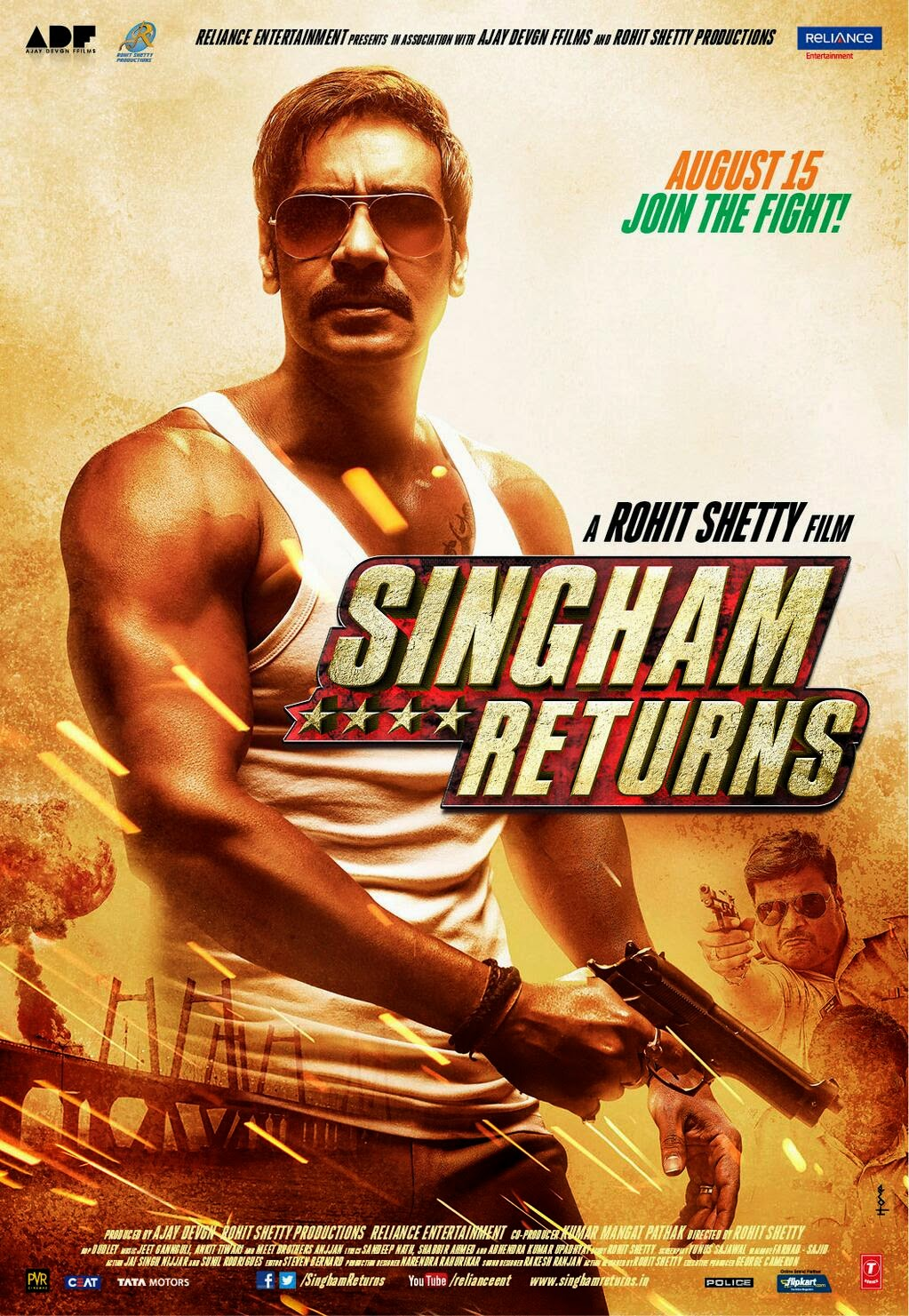 Singham Returns (2014) First Look Poster - Ajay Devgan and Kareena Kapoor