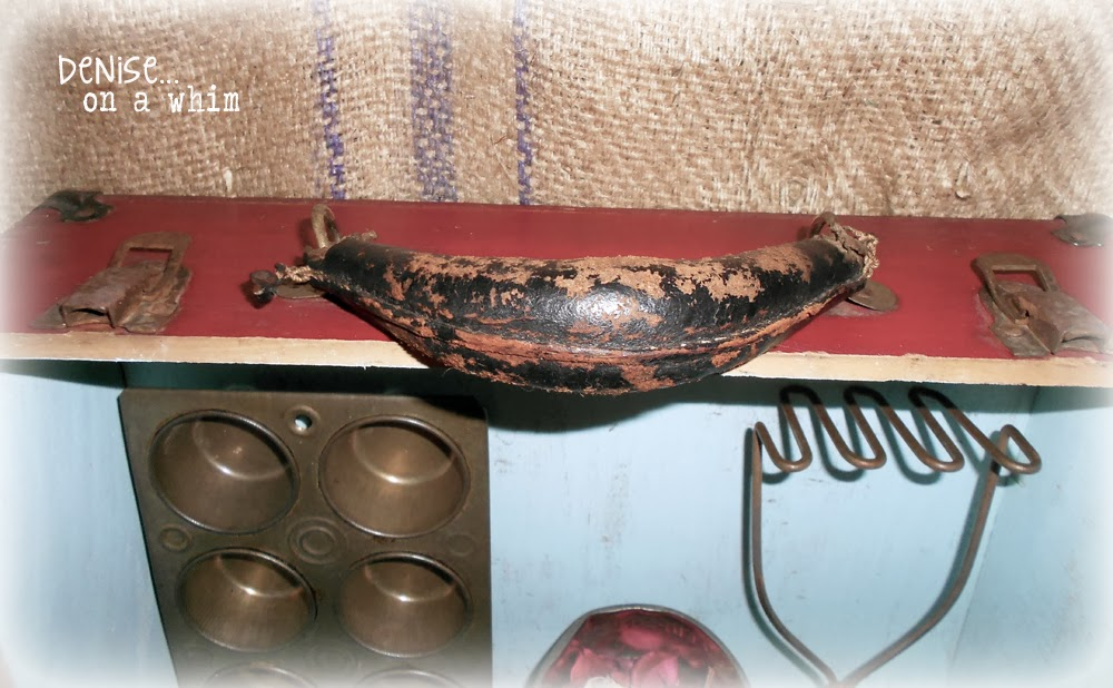 Lovely Worn Handle and Rusty Hinges on a Vintage Skate Box Shelf