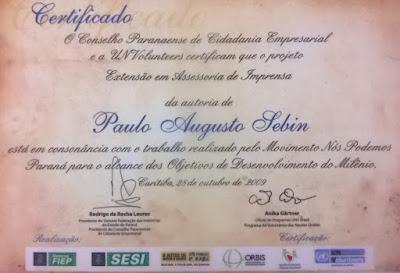 Certificado do Conselho Paranaense de Cidadania Empresarial pela assessoria de imprensa em Londrina
