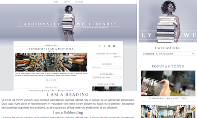 Chic, minimalist, book / reading blog theme - template for blogspot blogger