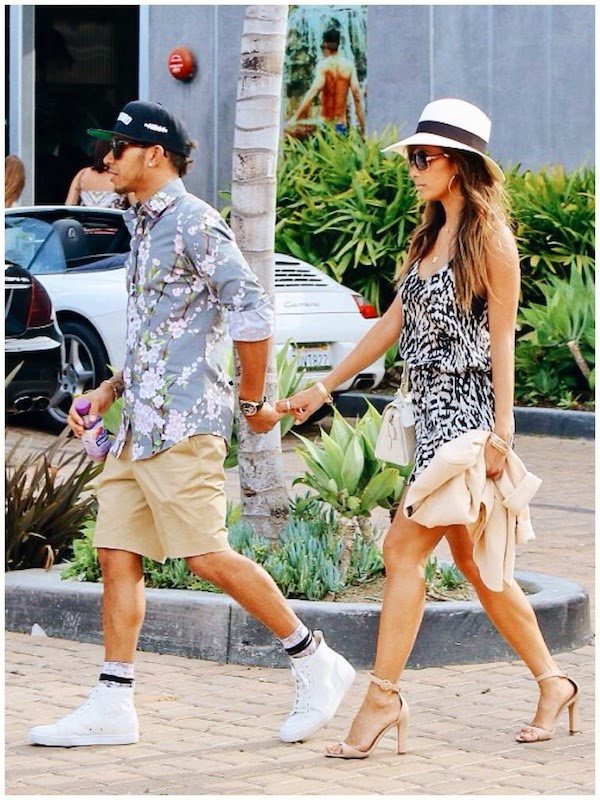 Nicole Scherzinger and Lewis Hamilton in Dolce Gabbana cherry blossom floral shirt in Malibu May 2014