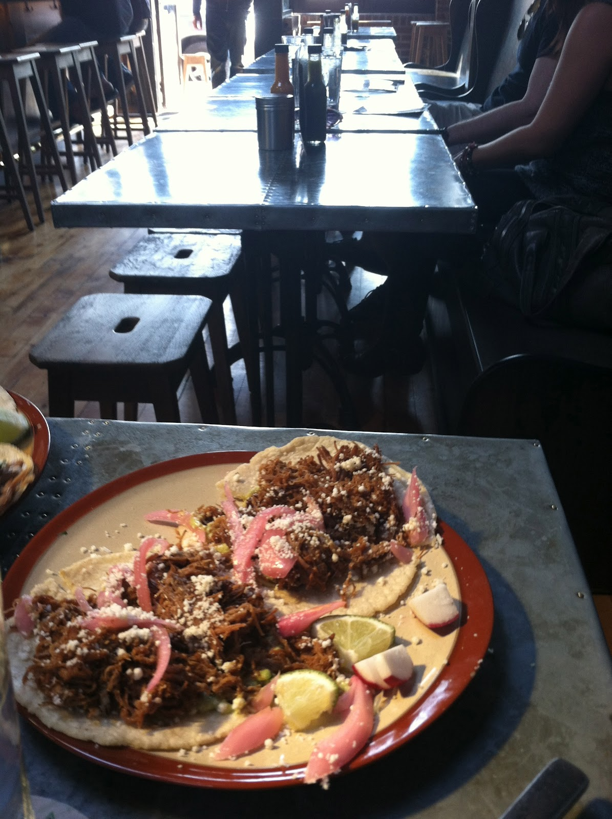 Beef Barbacoa ( Smoked brisket, pickled red onion, avocado crema ...