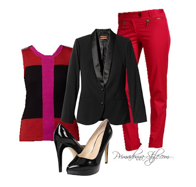Kirna Zabete Black Tuxedo Blazer Narcisco Rodriguez Color Block Sweater, Michael Kors Lacquer Pink Zip Pocket Ankle Pants Nine West 7Proudly