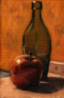 Oil painting of a red apple in front of a green flat-bottomed torpedo bottle.