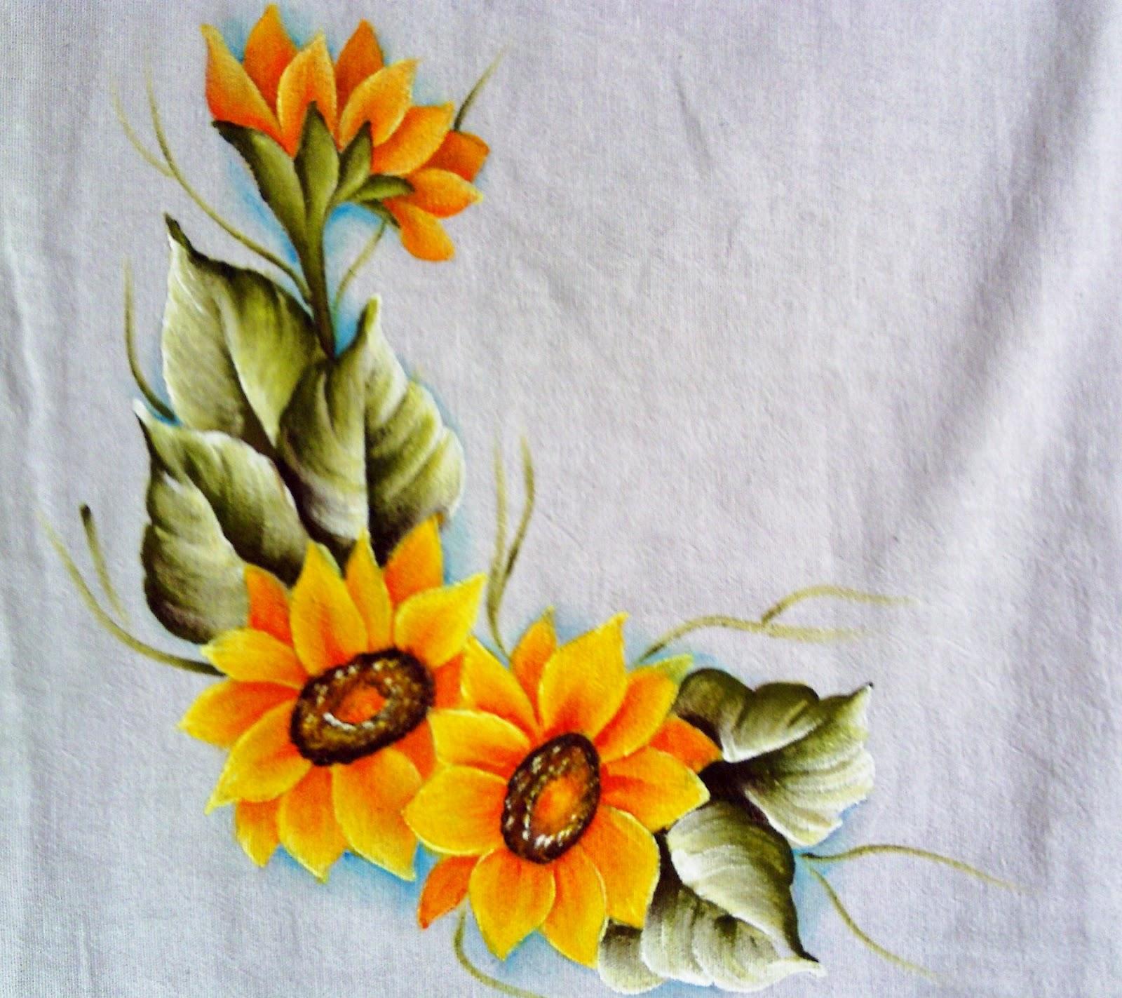 Aparador De Acrilico Transparente ~ Coisas da Nil Pintura em tecido Pano de copa com pintura de girassol