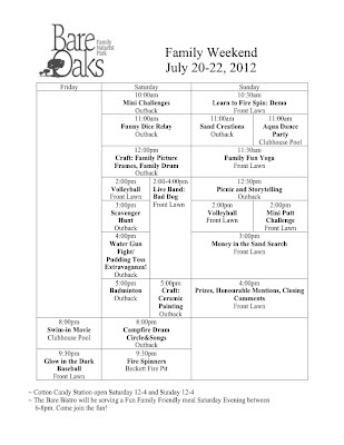 Bare Oaks Family Naturist Park 2012 Family Weekend Schedule