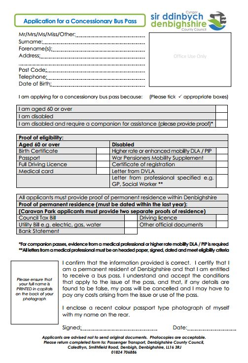 Denbighshire Learning Disability Forum Application For A