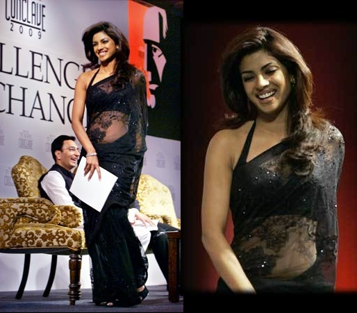 Priyanka Chopra in Black Saree, Priyanka Chopra in transparent saree, Priyanka Chopra hot in black saree, Priyanka Chopra sleeveless blouse, Priyanka Chopra saree fashion