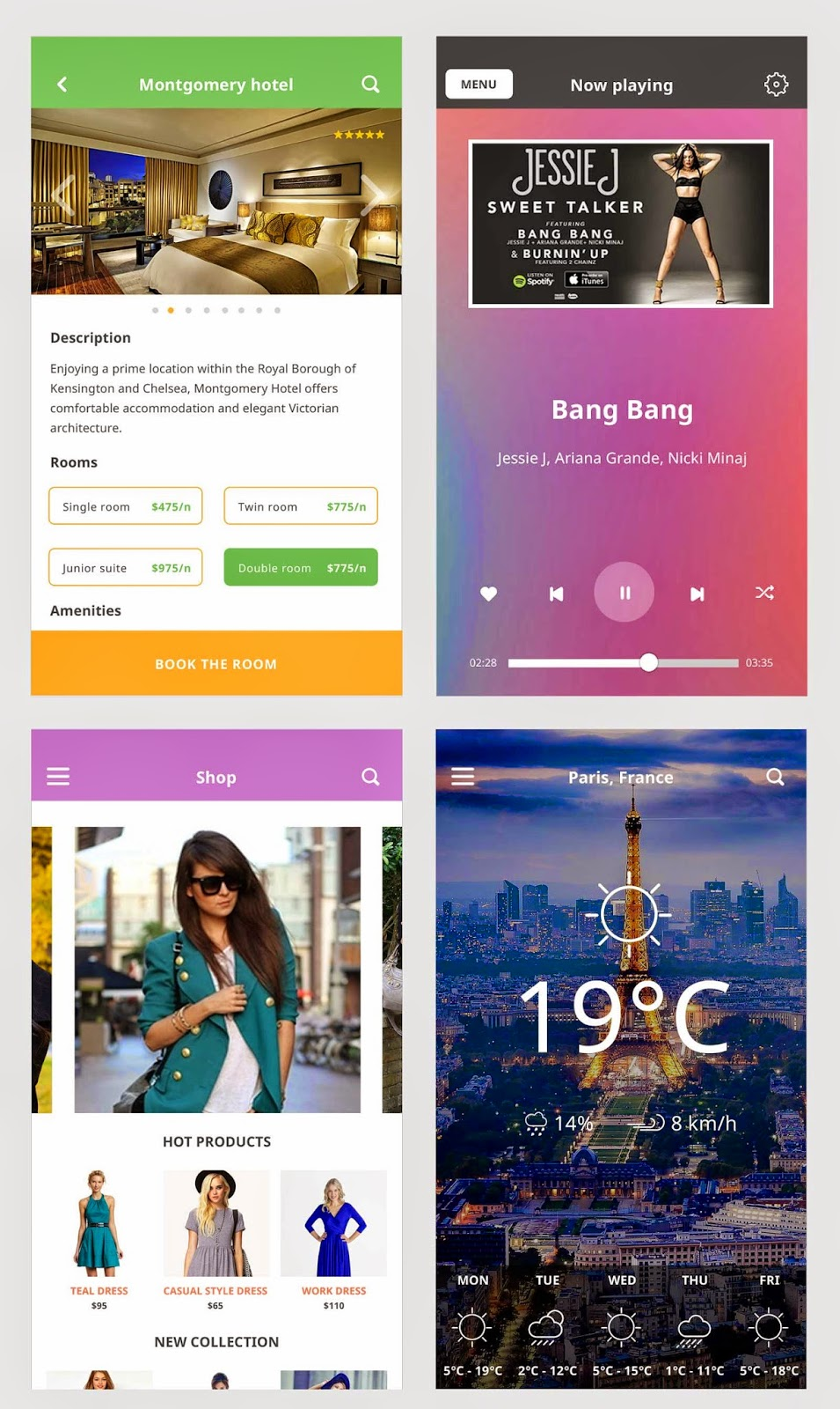 iOS 8 Mobile App UI Kit PSD