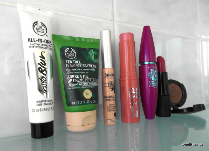 image of drugstore beauty products for quick easy makeup