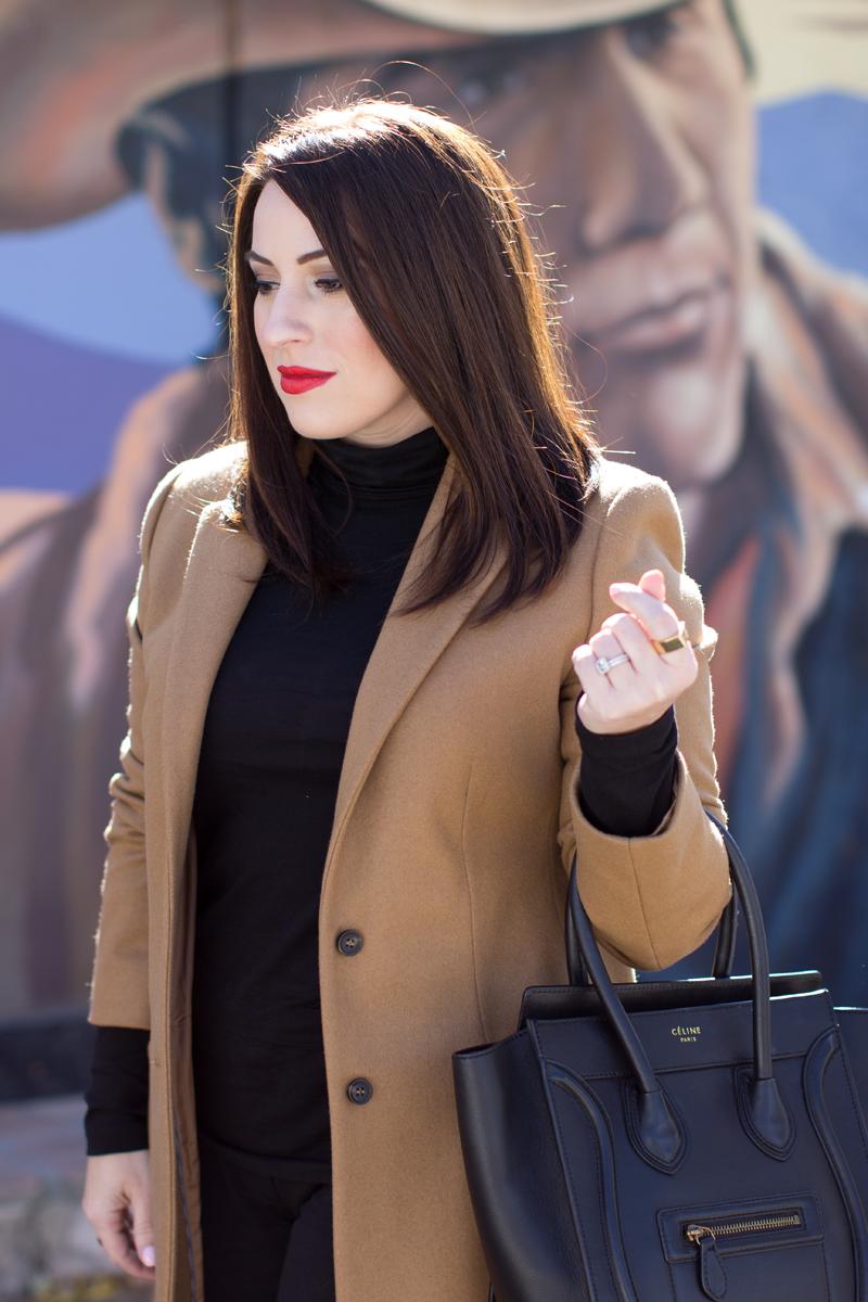 camel coat, jcrew tissue turtleneck, nars heatwave lipstick
