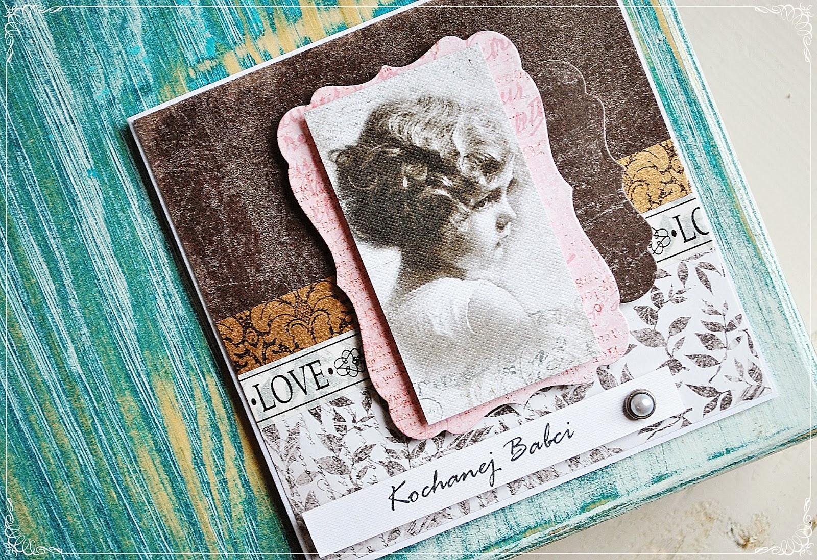 kartka na dzień babci vintage scrapbooking