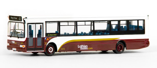 EFE 36710 - Plaxton SLF Dart 1 Door - Lothian Buses This striking modern livery complements the traditional colours of Lothian Buses on our single door Plaxton SLF Dart. Registered Y189 CFS, fleet number 189 operates route 42 to Kings Road, Edinburgh. RRP £32.50