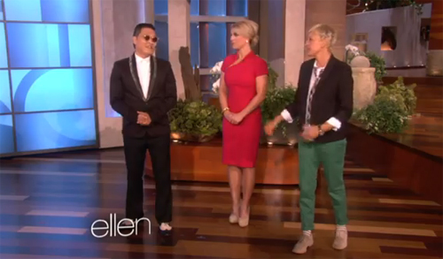 Psy dance with Britney and Ellen to the tune of 'Gangnam Style'