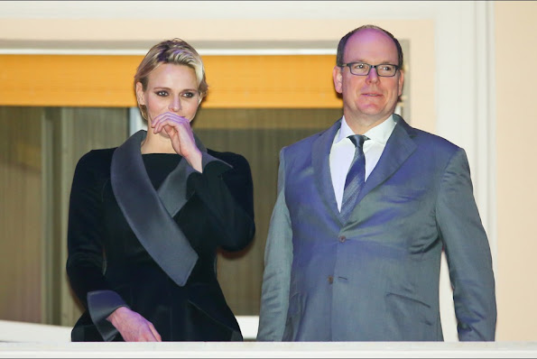 "Princess Charlene of Monaco and Prince Albert of Monaco watched the ""Good Friday Procession"" from the palace balcony on April 3, 2015 in Monaco."