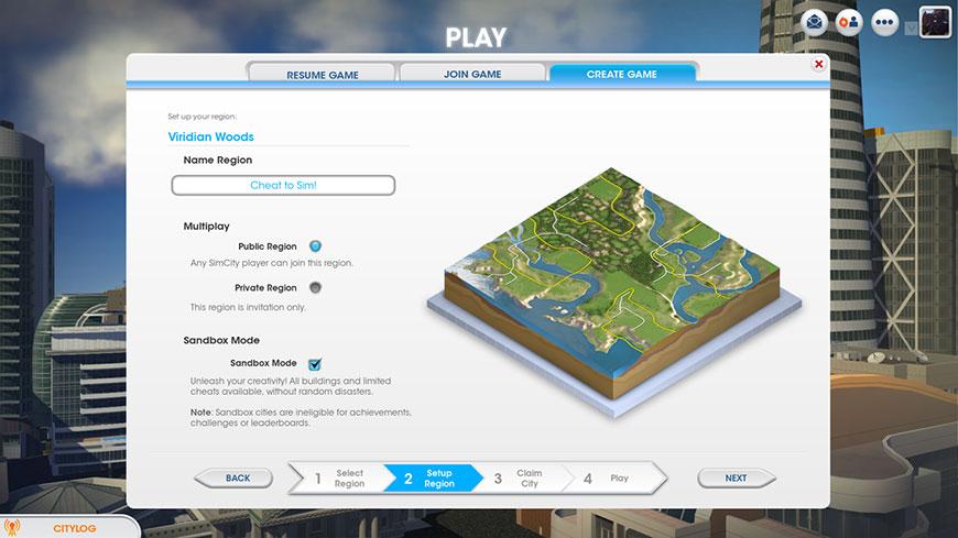 Режим песочницы в SimCity - упрощаем игру
