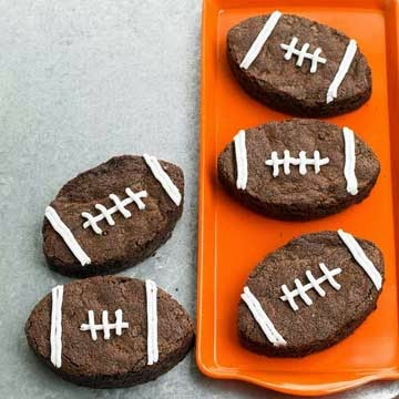 Whip up a batch of these cute fudgy football brownies Follow this basic recipe or take a shortcut with pre-made mix.