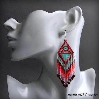 Этнические украшения из бисера - серьги