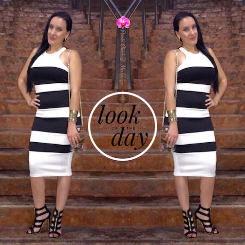 OOTD-Black-&-White-Striped-Bodycon-Dress