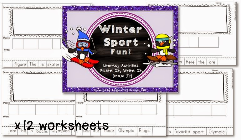 http://www.teacherspayteachers.com/Product/Winter-Sport-Fun-Literacy-Activities_Paste-Write-Draw-1054583