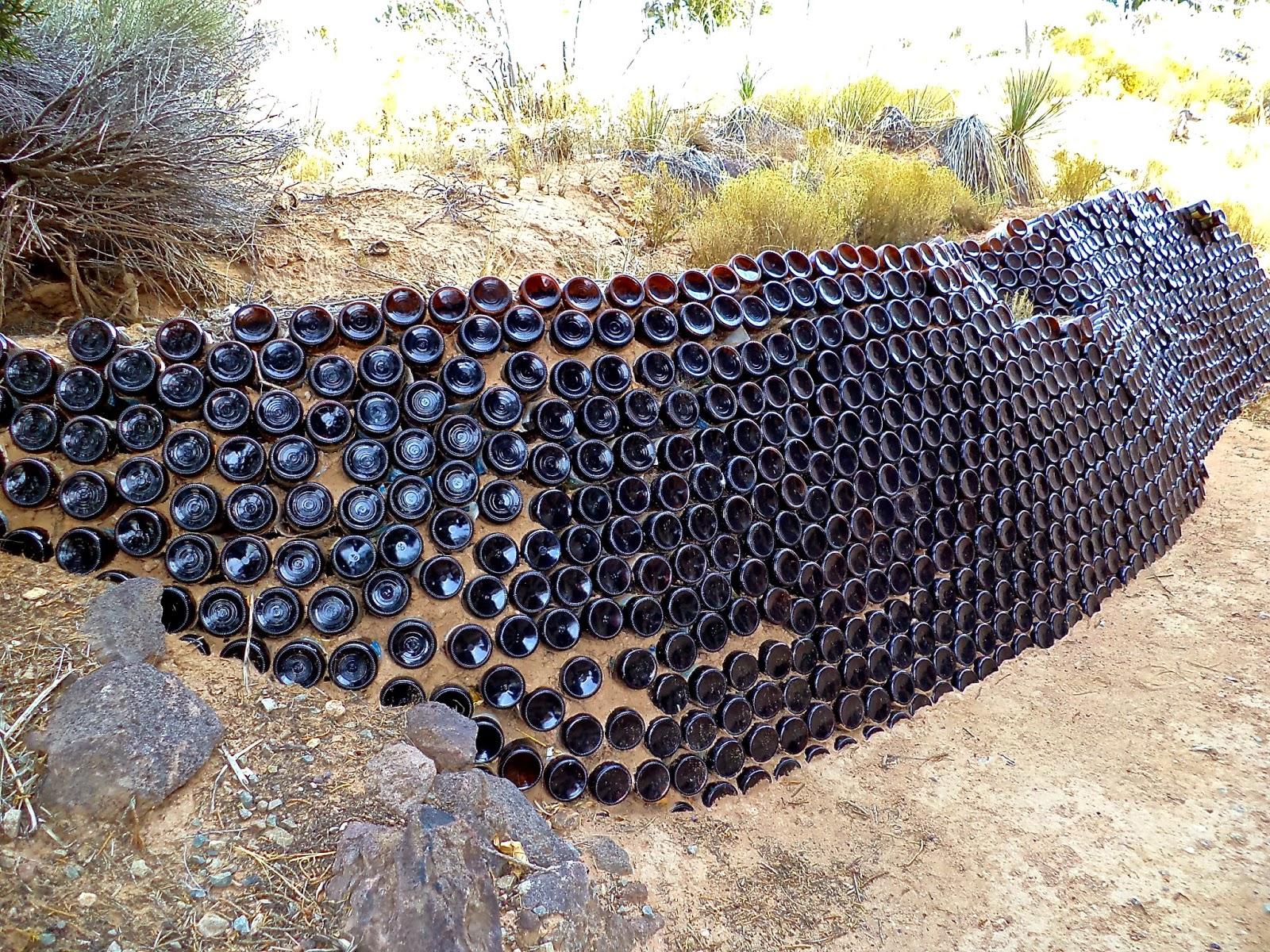 Alt build blog reusing glass bottles for landscaping for How to build a bottle wall