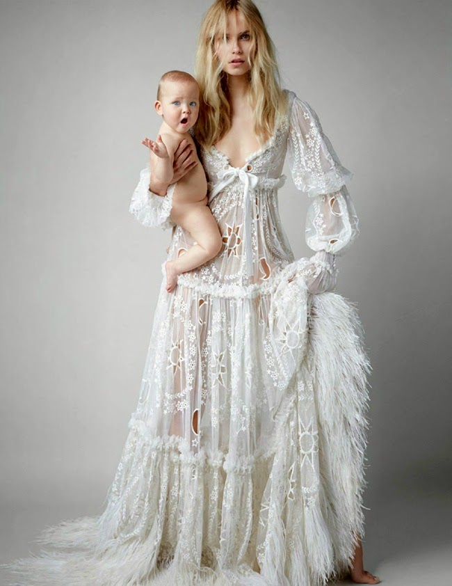 Alexander McQueen 2014 AW Victorian Fancy White Dress Editorials