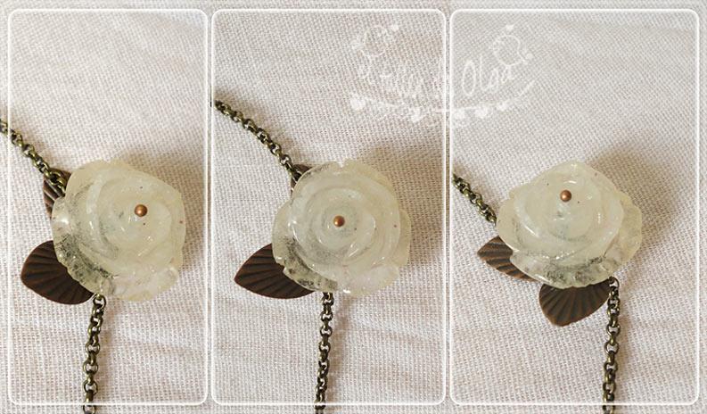 collar con mariposa de origami en papel de libro flor de resina y cierre de metal en forma de pajaro
