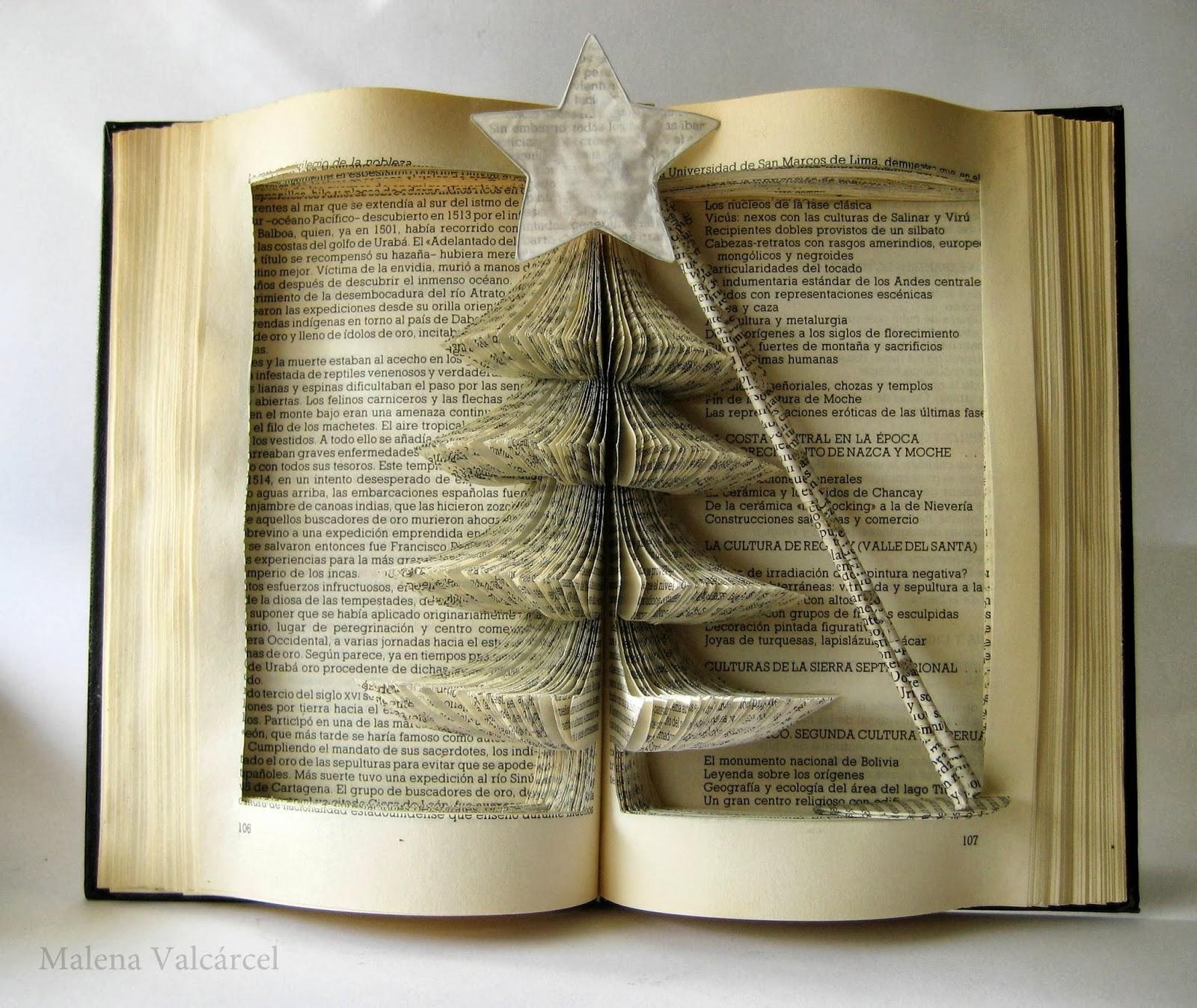 Malena valc rcel original art libro intervenido arbol - Arbol de navidad con libros ...