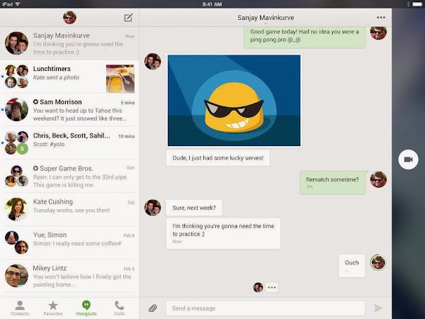 Google Hangouts for iPad